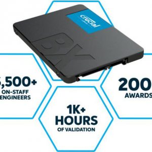 """Micron (Crucial)-CT2000BX500SSD1-Crucial BX500 2TB 2.5"""" SATA3 6Gb/s SSD - 3D NAND 540/500MB/s 7mm 1.5 mil MTBF 3yr wty Acronis True Image Solid State Drive"""