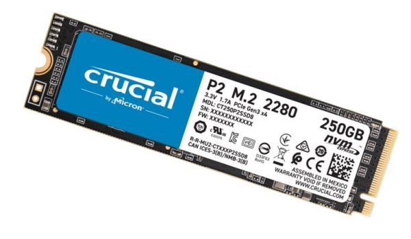 Micron (Crucial)-CT250P2SSD8-Crucial P2 250GB M.2 PCIe NVMe SSD 2100/1150 MB/s R/W 150TBW 1.5M hrs MTTF Acronis True Image Cloning Software 5yrs wty
