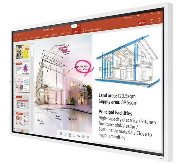 "Samsung-LH65WMRWBGCXXY-Samsung Flip2 WM65R 65"" 4K UHD Interactive E-Board Smart Digital InGlass Multi-Touch 4x Drawing 350NIT 16/7 Usage 2xHDMI USB RS232C LAN WIFI BT Tizen5"