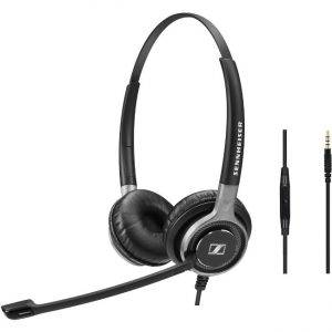 Sennheiser-1000644-EPOS | Sennheiser Wired binaural UC headset with 3.5 mm jack connectivity. In-line mini call control for use with 3.5 mm jack.