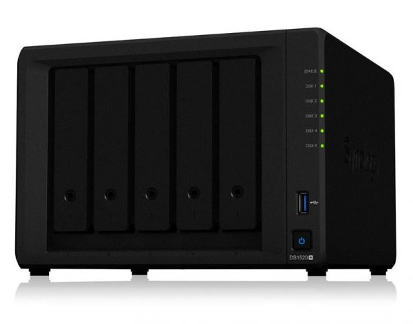 Synology-DS1520+-Synology DiskStation DS1520+ 5 Bay NAS Intel Celeron J4125 4-core 2.0 GHz 8 GB DDR4 Hot swappable 4x1GbE RJ-45 2xUSB 3.0 3yrs wty