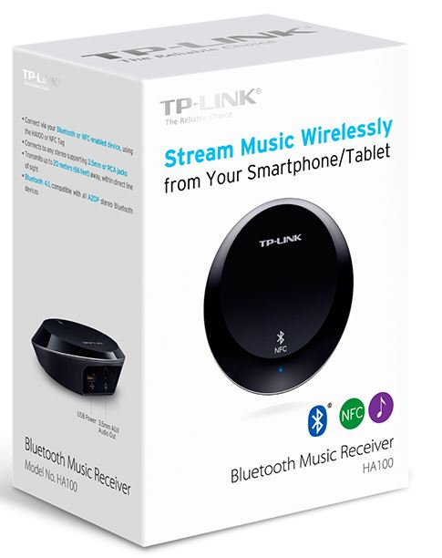 TP-LINK-HA100-TP-Link HA100 Bluetooth NFC Music Audio Receiver Transmitter up to 20 meters 3.5mm RCA 5V 1A USB Power for iPhone iPad Android Windows Smartphone