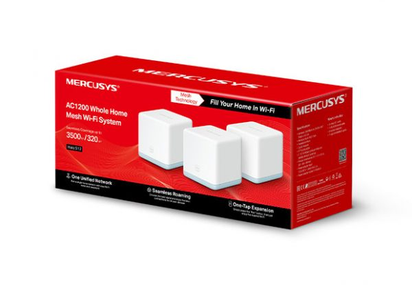 TP-LINK-Halo S12(3-pack)-Mercusys Halo S12(3-pack) AC1200 Whole Home Mesh Wi-Fi 1167Mbps System