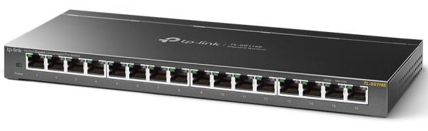 TP-LINK-TL-SG116E-TP-Link TL-SG116E 16-Port Gigabit Unmanaged Pro Switch Desktop/Wall Mounting L2 Features 32xVLAN 32Gbps Capacity 23.81Mpps 8K MAC 4.1Mb Buffer Fanless