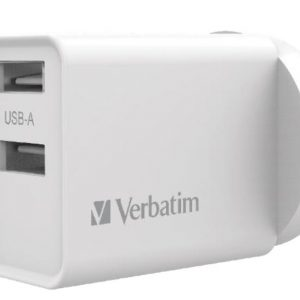 Verbatim-66593-Verbatim USB Charger Dual Port 2.4A - White Twin Port Wall Charger