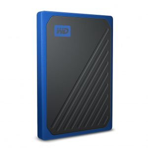 WD-WDBMCG0010BBT-WESN-WD My Passport Go 1TB External Portable SSD 400 MB/s USB3.0 Tough Durable Drop Resistant Built-in Cable Cobalt Blue for PC Mac 3yrs