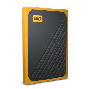 WD-WDBMCG0010BYT-WESN-WD My Passport Go 1TB External Portable SSD 400 MB/s USB3.0 Tough Durable Drop Resistant Built-in Cable Amber Yellow for PC Mac 3yrs