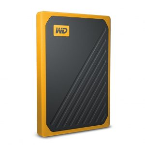 WD-WDBMCG0020BYT-WESN-WD My Passport Go 2TB External Portable SSD 400 MB/s USB3.0 Tough Durable Drop Resistant Built-in Cable Amber Yellow for PC Mac 3yrs