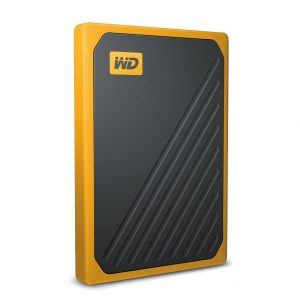 WD-WDBMCG5000AYT-WESN-WD My Passport Go 500GB External Portable SSD 400 MB/s USB3.0 Tough Durable Drop Resistant Built-in Cable Amber Yellow for PC Mac 3yrs