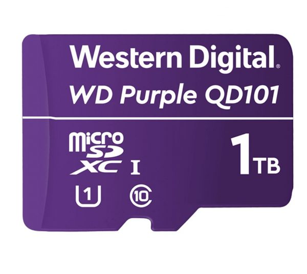 Western Digital-WDD100T1P0C-Western Digital WD Purple 1TB MicroSDXC Card 24/7 -25°C to 85°C Weather  Humidity Resistant for Surveillance IP Cameras mDVRs NVR Dash Cams Drones