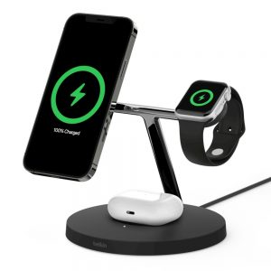 Belkin-WIZ009auBK-Belkin Boost Charge Pro 15W 3-in-1 Wireless Charger with MagSafe - Black - FOR APPLE