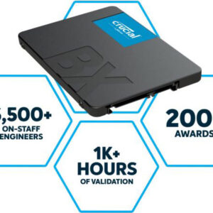 """Micron (Crucial)-P-CT480BX500SSD1-P-Crucial BX500 480GB 2.5"""" SATA3 6Gb/s SSD - 3D NAND 540/500MB/s 7mm 1.5 mil MTBF 3yr wty Acronis True Image Solid State Drive"""