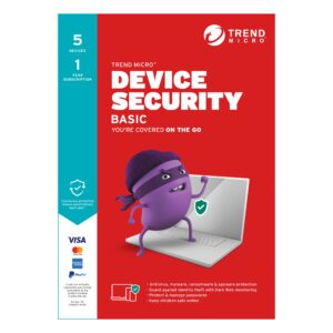 Trend Micro-TICEWWMFXSBYEM-Trend Micro Device Security BASIC (1-5 Devices) 1Yr Subscription Retail Mini Box (Replaces Maximum Security)