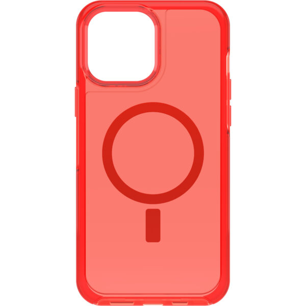 Otterbox-77-83666-OtterBox Apple  iPhone 13 Pro Max Symmetry Series+ Clear Antimicrobial Case for MagSafe (77-83666) - In The Red - Seamless interaction with MagSafe