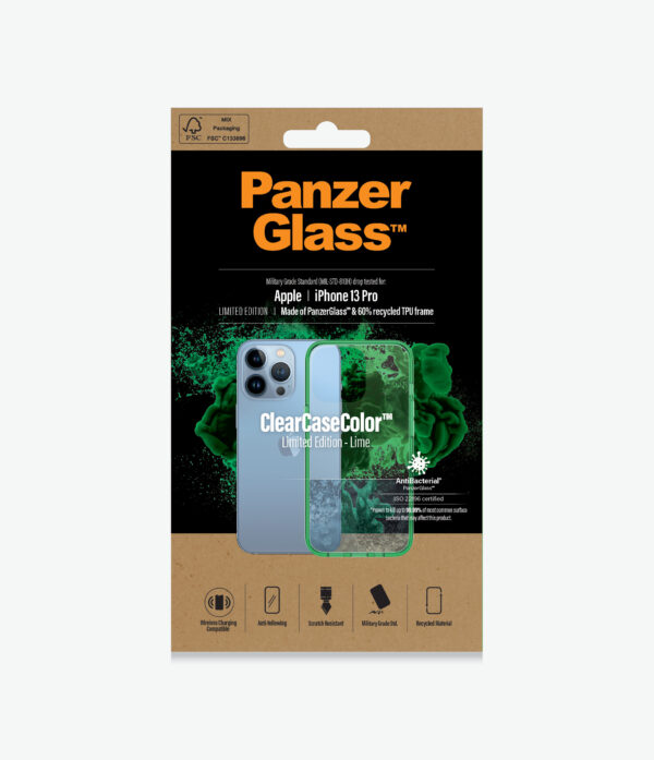 Panzer Glass-0339-PanzerGlass™ SilverBullet Case for iPhone 13 Pro - Lime - Slim Fashionable Design
