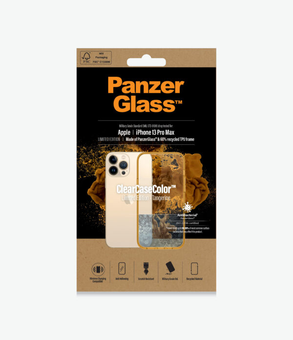 Panzer Glass-0343-PanzerGlass™ SilverBullet Case for iPhone 13 Pro Max  Tangerine - Most powerful ClearCase™ ever