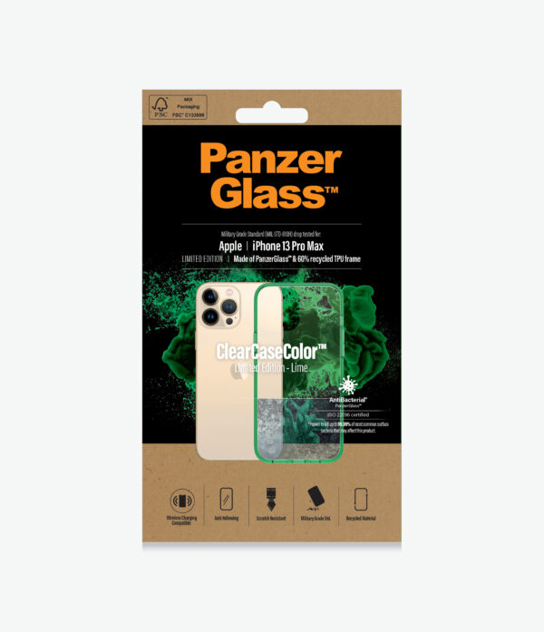 Panzer Glass-0344-PanzerGlass™ SilverBullet Case for iPhone 13 Pro Max - Lime - Most powerful ClearCase™ ever