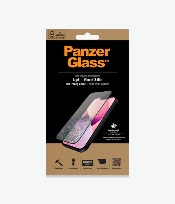 Panzer Glass-PRO2744-PanzerGlass™ iPhone 13 Mini Black - AntiBacterial Screen Protector - Antibactrial glass - Protects the entire screen