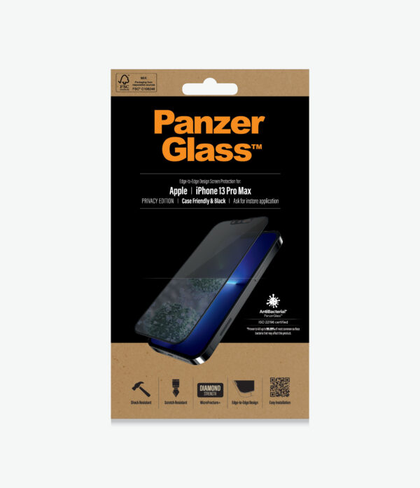 Panzer Glass-PROP2746-PanzerGlass™ SilverBullet Case for iPhone 13 Pro Max - Black - Anti-bacterial glass