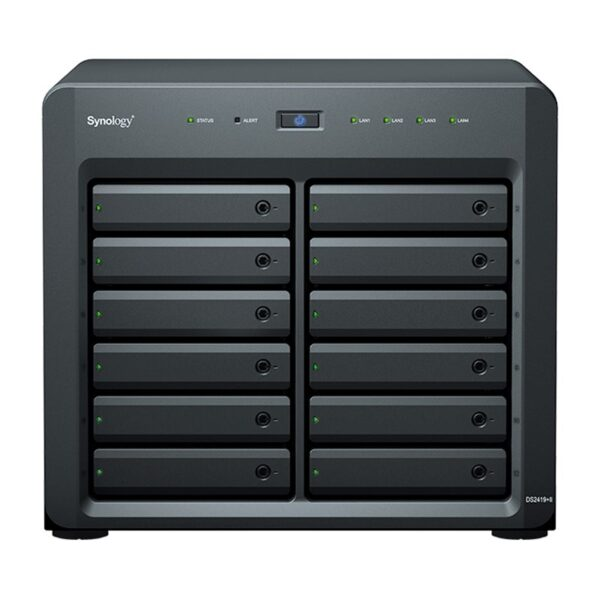 Synology-DS2419+II-Synology DiskStation DS2419+II 12 Bay Intel Atom C3538 4G DDR4 Hot Swappable 4xRJ-45 1GbE LAN 2xUSB3.2 1xExpansion Port 1x Gen3 x8 slot 3 Yr WTY